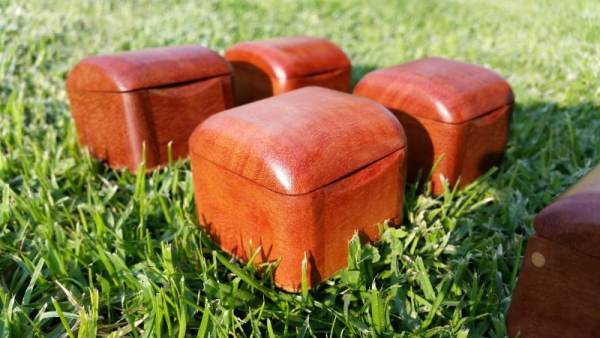 closeup of tiny wooden boxes suitable for a ring box