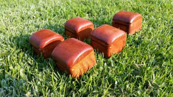 Collection of tiny wooden boxes made with love from recycled Australian timber fence posts - Redgum rear view