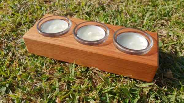 Australian made tealight candle holder with 3 candles and glass inserts