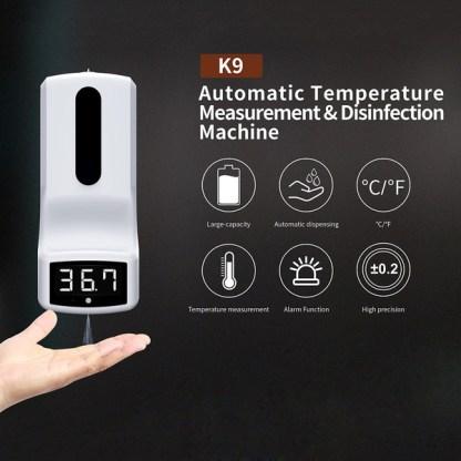 Automatische handwasdispenser voor vloeibare zeep met infraroodthermometer
