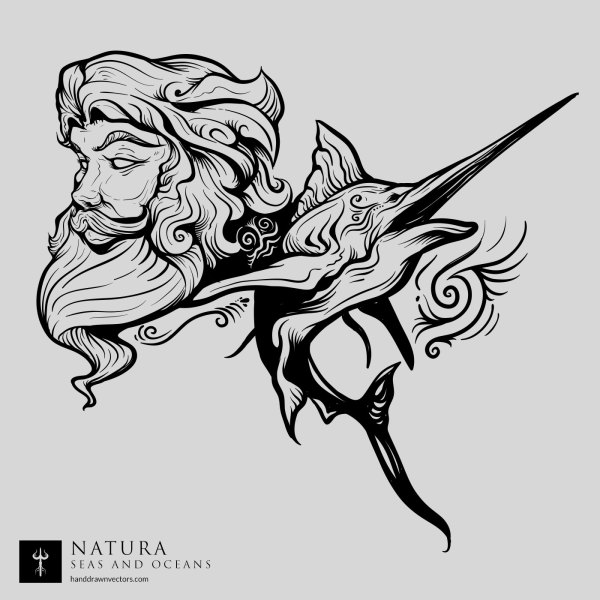 Poseidon-Swordfish-Sea-Vector