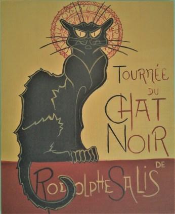 Copia del cartel modernista de Le Chat Noir de Steinlen, 1896. Acrílico en tabla entelada 41×33 cm #125€#