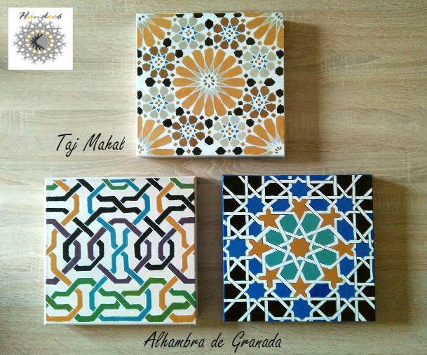 Cuadros con azulejos. Acrílico sobre lienzo 30x30 #90€#