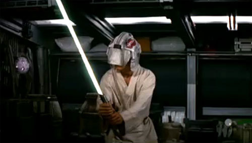 Luke and his blast shield helmet getting zapped because lol