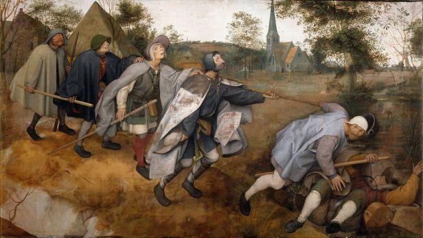 la parabole des aveugles de Peter Brueghel, 1568. Il représente 6 aveugles en haillons qui se suivent en file indienne. Le premier est tombé, le 2ème trébuche, le 3ème va trébucher, le 4ème semble pressentir le danger, et les 2 derniers ne se doutent encore de rien.