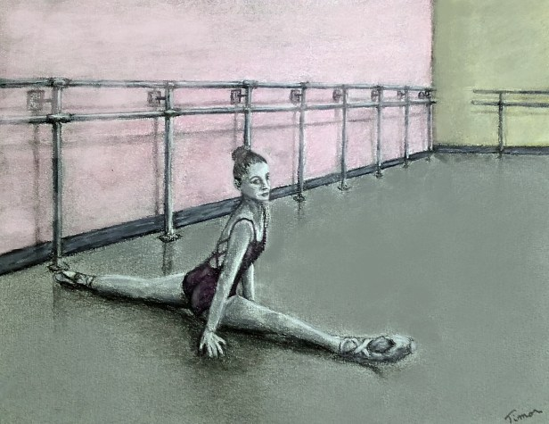 Dessin au fusain et pastel d'une jeune danseuse en train de faire le grand écart