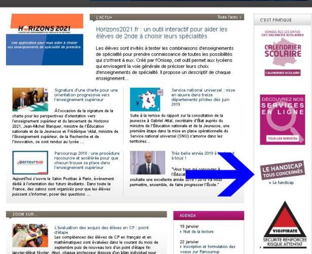 """capture d'écran qui montre le logo """"Handicap, tous concernés' sur la page d'accueil du site du ministère de l'Education Nationale version antérieure à 2020 : accès facile et direct"""