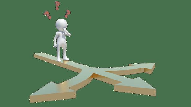 représentation symbolique d'une personne qui se trouve face à 3 directions possibles représentées par 3 flèches. Il met un doigt dans la bouche, dubitatif. 3 points d'interrogation sont dessinés au-dessus de sa tête.