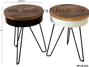 Iron 1 Wooden Top Round Folding Coffee Table