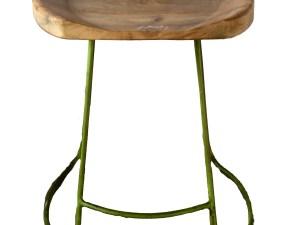 Iron saria stool with wooden seat (White Distressed finish)