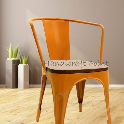 Iron Tolix Arm Cafe Chair with wooden seat