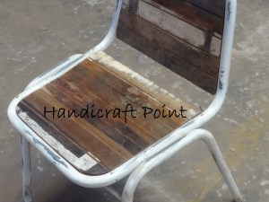 Iron Powder Coated Chair with reclaimed wooden seat