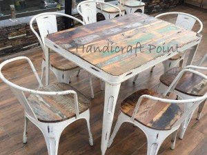 White distressed Industrial Arm Chairs and table with reclaimed color wooden top 4 or 6 seating