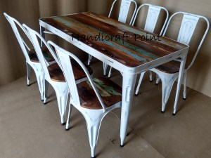White distressed Industrial Tolix Chairs and table with reclaimed color wooden top 3+3 seating and 3+3+1+1 seating