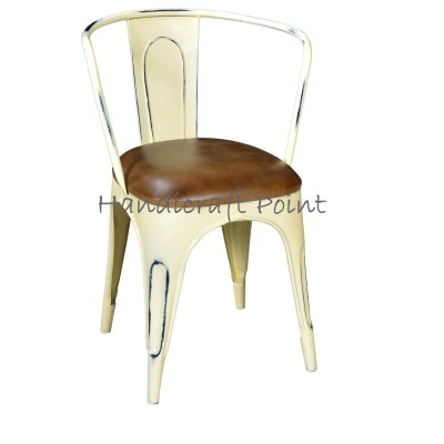 Industrial Armrest chair with cushion white distressed