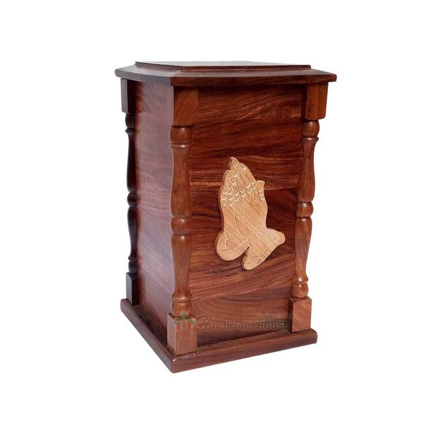Wooden Hands Praying Urn Cremation Urns for Human Ashes