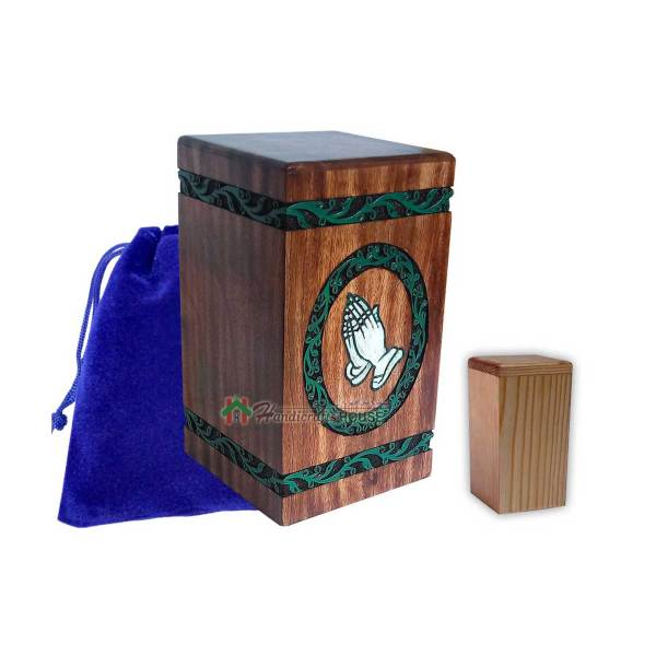 Wooden Hands Praying Memorable Cremation Urn For Human Ashes