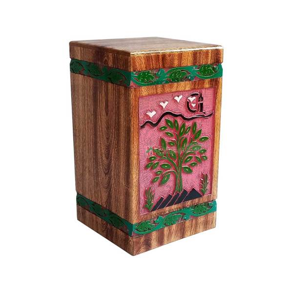 Wood Funeral Urns For Ashes, Decorative Casket Box, Wooden Burial Human Urn, Tableware Boxes