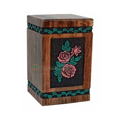 Rose Flower Hands Engraving Wooden Cremation Urns, Wood Funeral Urn for Human or Pet Ashes Adult – Hardwood Memorial Large Box 250 cu/in (Large)