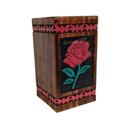 Hands Carving Flower Wooden Cremation Urns, Solid Wood Burial Box for Human or Pet Ashes Adult – Hardwood Memorial Large Urn for Loved One and Father