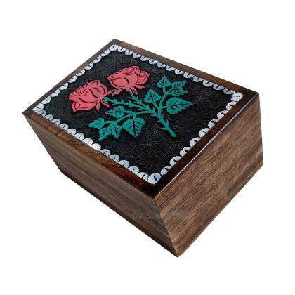 Hands Engraving Rose Flower Wooden Cremation Urns, Wood Funeral Urn for Human or Pet Ashes Adult – Hardwood Memorial Large Box for Loved One