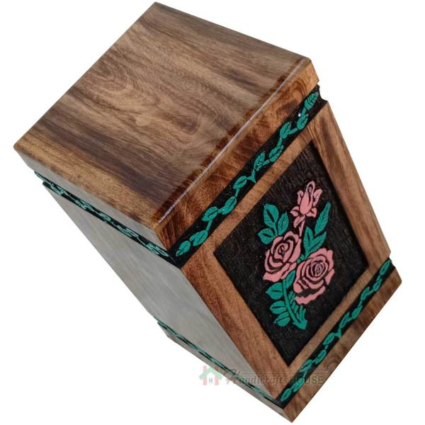 wooden urns with flower engraving