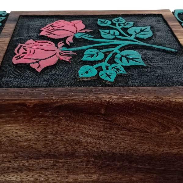 Hands Engraving Rose Flower Wooden Cremation Urns, Wood Funeral Urn for Human or Pet Ashes Adult - Hardwood Memorial Large Box