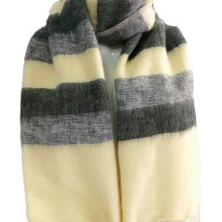 yak wool shawl stripe cream