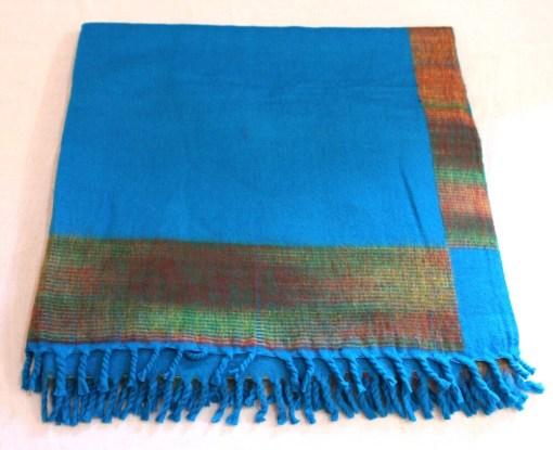 100% Yak Wool Blanket, Azure Blue Color 2