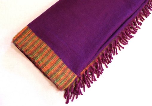Yak wool blanket magenta purple color