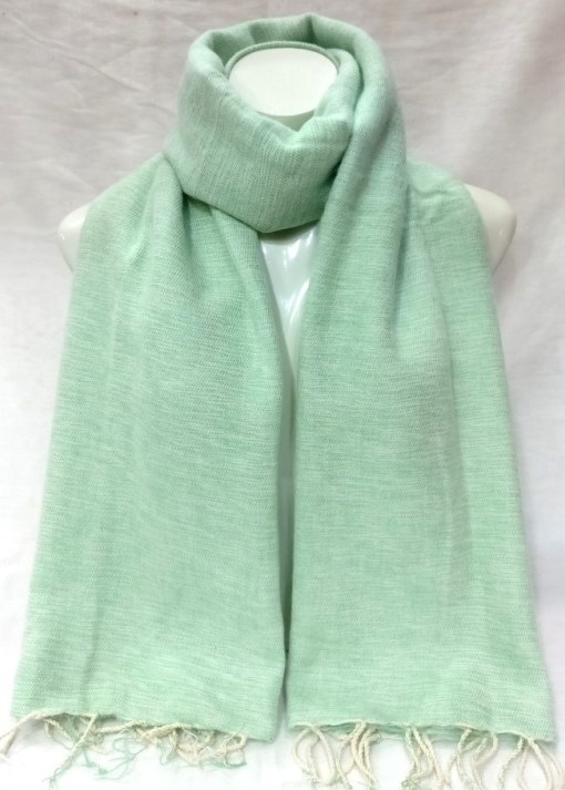 handwoven yak wool shawl mint color