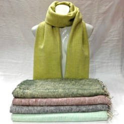 Handwoven Yak Wool Shawl Green color mix