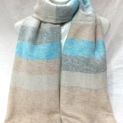 handloom yak wool shawl stripe light turquoise