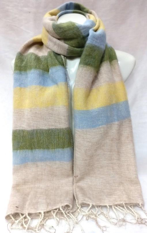 handloom yak wool shawl stripe yellow