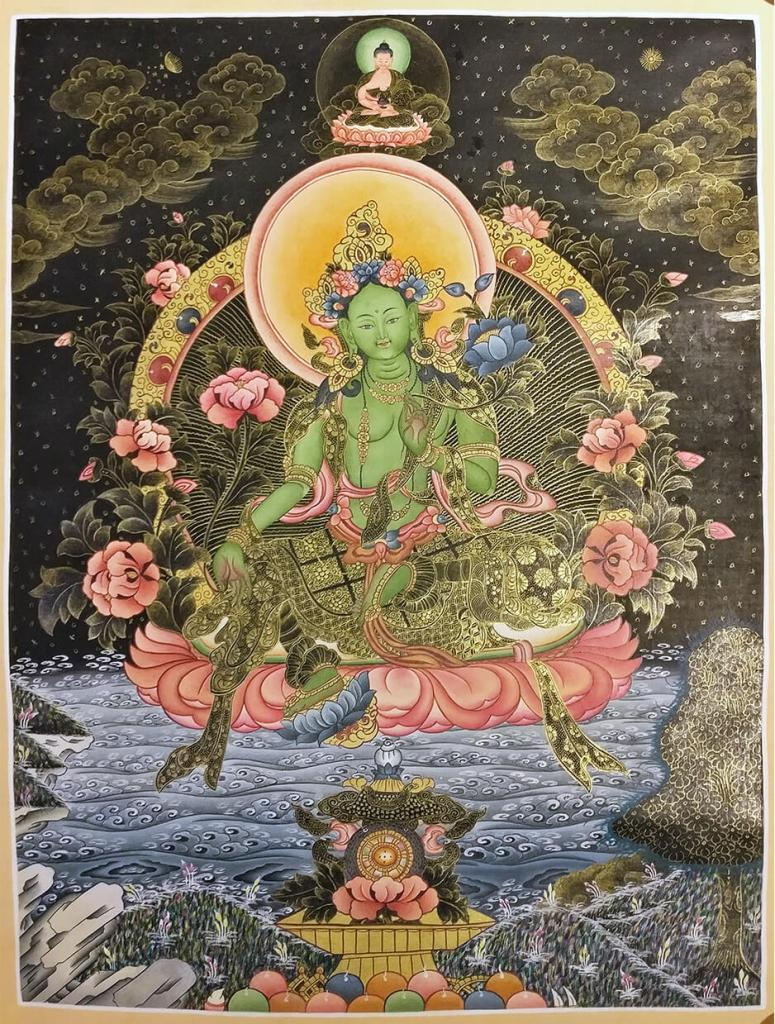 green tara golden thangka