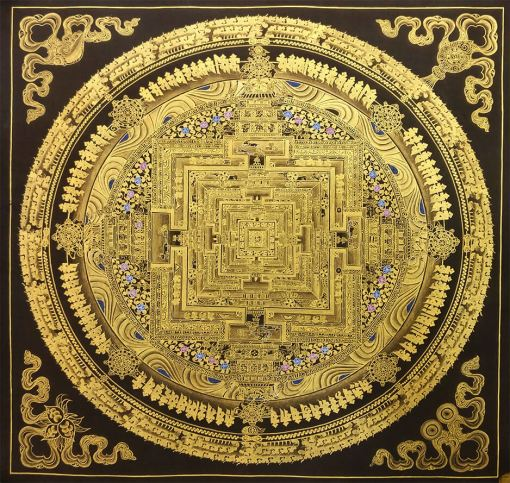 black golden mandala thangka