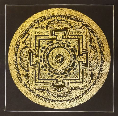 golden black thanka painting