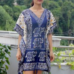Satin Kaftan Knee Length Dress