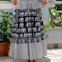 Janaki Cotton Skirt Black and White