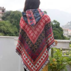 mithila printed woolen poncho
