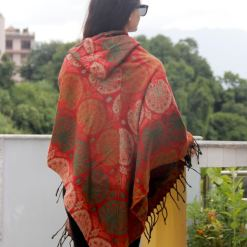 peacock print woolen poncho