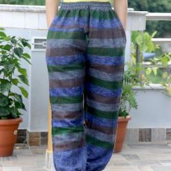 Stripe Bohemian Hippie Woolen Trouser