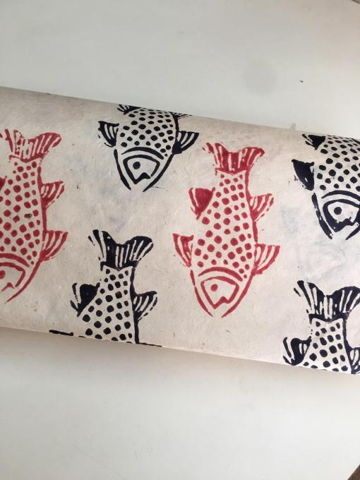 Black Red Fish Decorative Lokta Paper