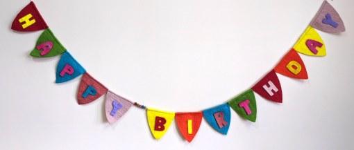 felt happy birthday banner