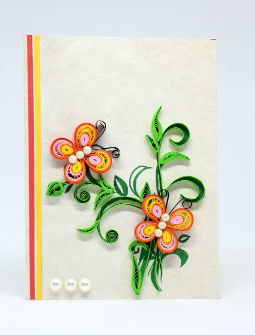 Butterfly Quilling Lokta Greeting Card