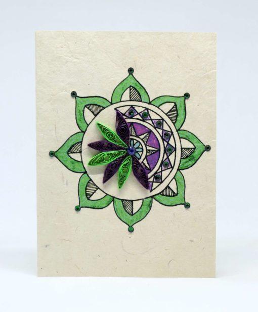 Half Mandala Quilling Lokta Greeting Card