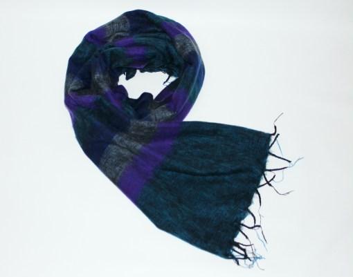 Yak Wool Shawl Stripe Purple Petrol Blue Color