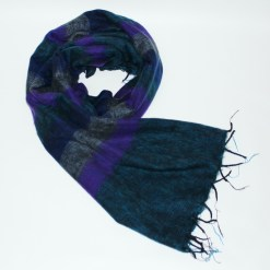 Yak Wool Shawl Stripe Purple Petrol Blue Color