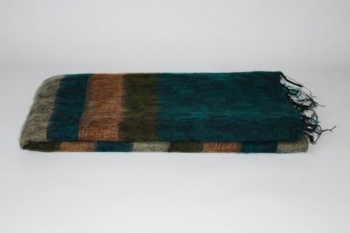 Yak Wool Shawl Stripe Blue Brown Color
