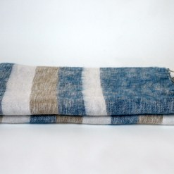 Yak Wool Shawl Stripe Blue White Color